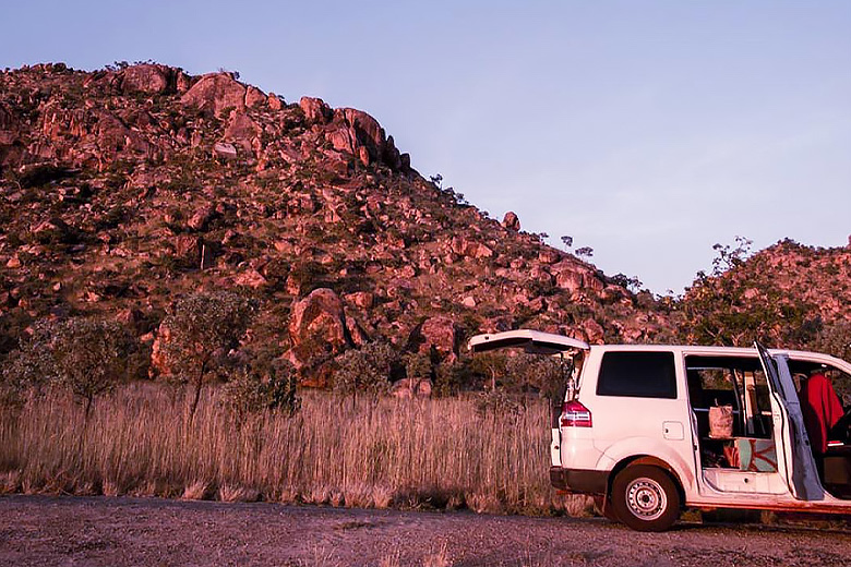 aventus campervan parked by an outback road